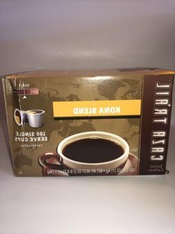 100 K-CUPS Caza Trail Coffee Kona Blend Medium Roast BB 01/3