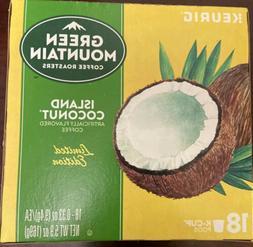 18 Green Mountain ISLAND COCONUT K-Cups Brew Pods Coffee Keu