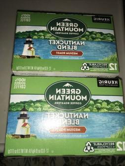 2 GREEN MOUNTAIN 12 Count Coffee K-Cup Pods Nantucket Blend