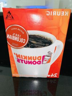 24 KEURIG K-Cups Coffee Dunkin Donuts 100% colombian