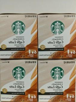 4 Starbucks Caramel Caffe Latte 6 K-Cups ea=24 + Dairy Pkts=