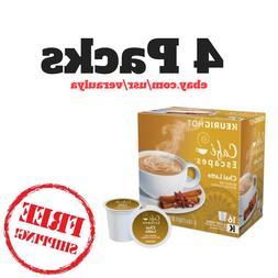 4pk Cafe Escapes Chai Latte Tea K-Cups Pods, Specialty Bever