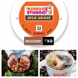 64 Coffee K-Cup Pods Medium Roast For Keurig Brewers Dunkin