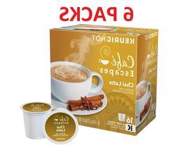6pk Cafe Escapes Chai Latte Tea K-Cups Pods, Specialty Bever