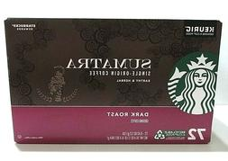 72 Keurig K-Cups Starbucks Sumatra Coffee Single Serve