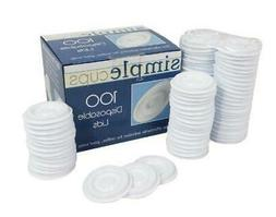 Disposable Lids - 100 Disposable Replacement Lids - Simple C