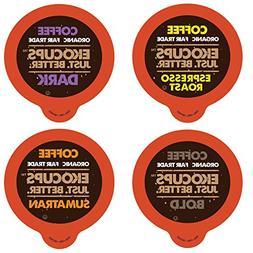Ekocups Dark, Bold, Espresso Organic Coffee Sampler for Keur