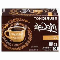 Keurig Hot McCafe Hazelnut 12 Count K Cups Light Roast Arabi