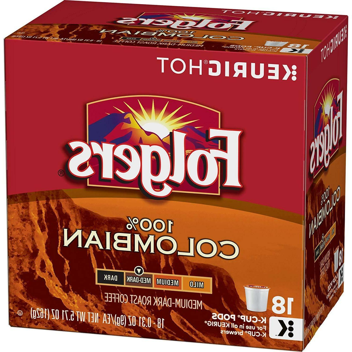 Folgers 100% Lively Colombian Coffee 18 to 90 Keurig K cups