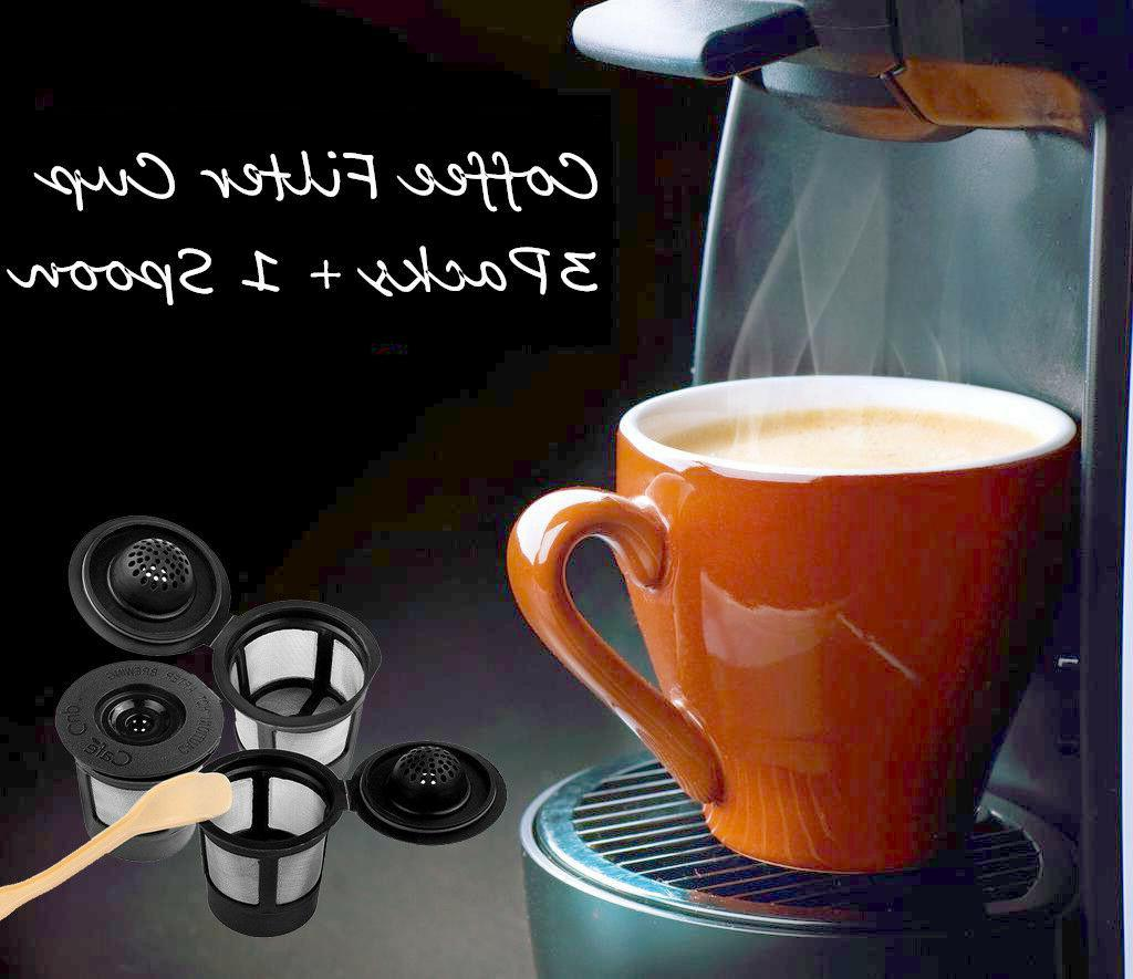 3X Refillable Reusable Single K-Cups Filter Pod + Coffee Spo