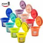 8 Pack Assorted Color Reusable K Cups for Keurig 2.0 & 1.0 B