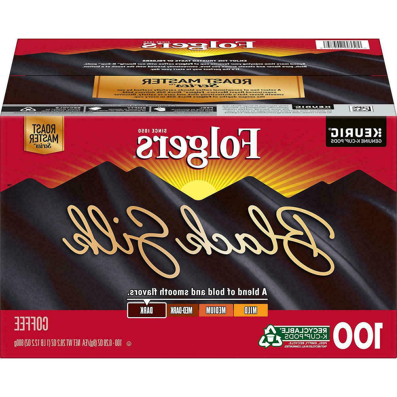 Folgers Black Silk Coffee K-Cups, Dark Roast 100 Count