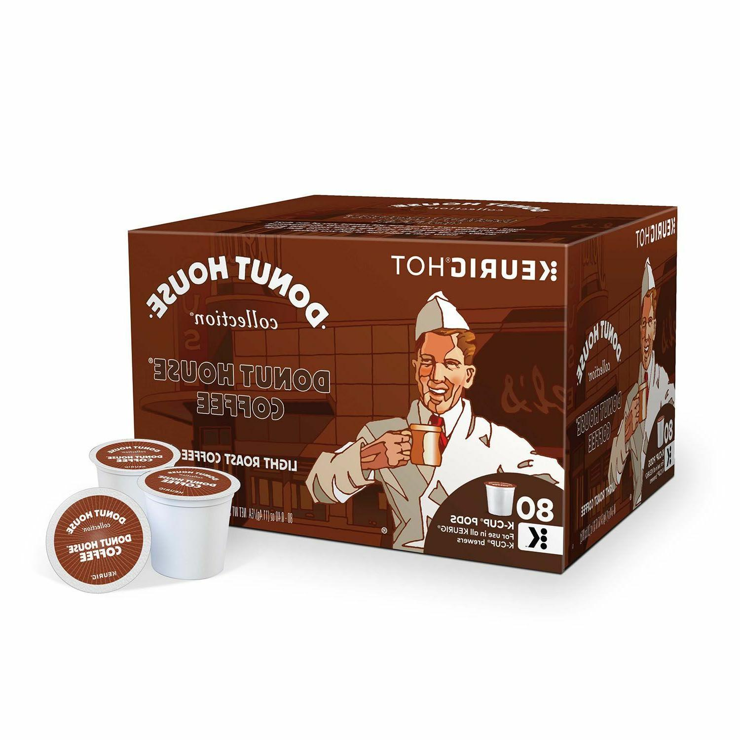 Donut House Coffee 80 K-cup Packs Light Roast Coffee