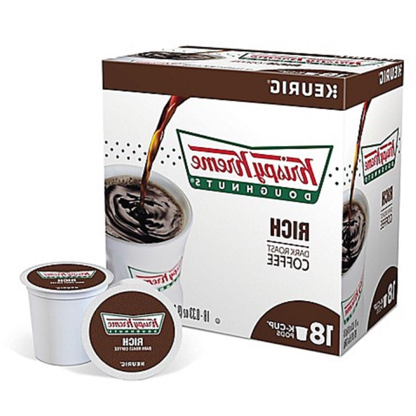 Krispy Kreme Doughnuts Rich Dark Roast Blend Coffee K Cups C