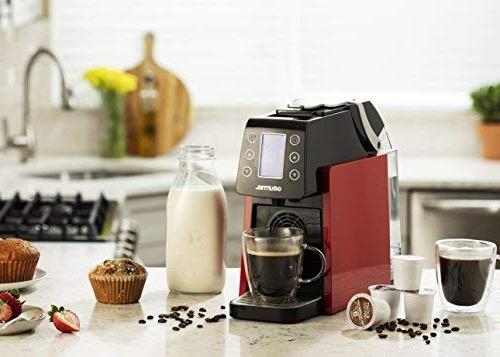 Gourmia GCM5100 One Multi Capsule Espresso - Serve - Compatible with K-Cup Pods - Digital - Red