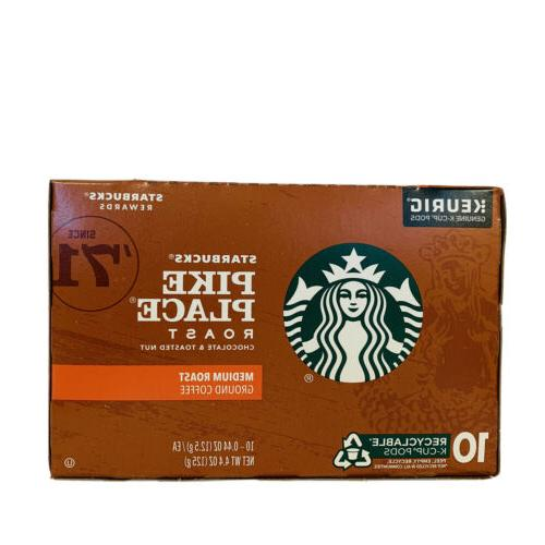 Starbucks Pike Place Roast Ground Coffee Keurig 10 Cup Cups New