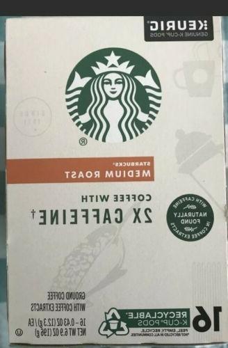 Starbucks Plus Coffee with 2X Caffeine MEDIUM  Roast K Cups