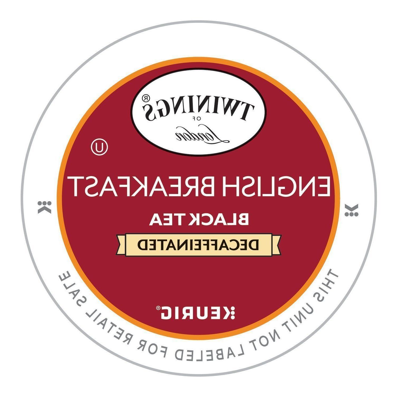 Twinings English Breakfast DECAF Tea 24 to 96 Count Keurig K