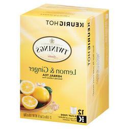 Twinings of London Lemon Ginger Herbal Tea Keurig K Cup Cups