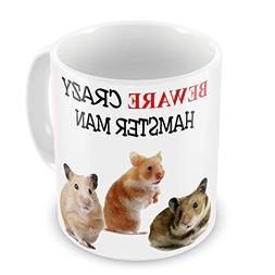 PIHJE mugs Crazy Hamster Man Funny Novelty Gift Mug