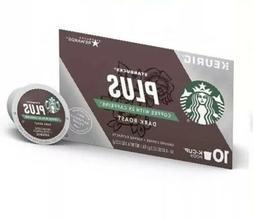 Starbucks Plus Coffee with 2X Caffeine Dark Roast K Cups 10