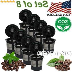 Set of 8  Reusable K-Cups, Refillable K Cup Coffee Filters F