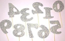 silver glitter number anniversary birthday graduation party