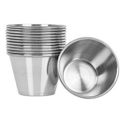 Stainless Steel Sauce Cups 2.5 oz, Commercial Grade Dipping