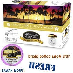 Hawaiian Isles Kona Coffee VANILLA MACADAMIA Nut K-Cups Sing