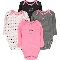 Wan-A-Beez 4 Pack Baby Girls' and Boys' Long Sleeve Bodysuit